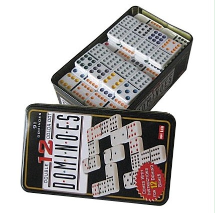 Double 12 Color Dot Dominoes in tin box