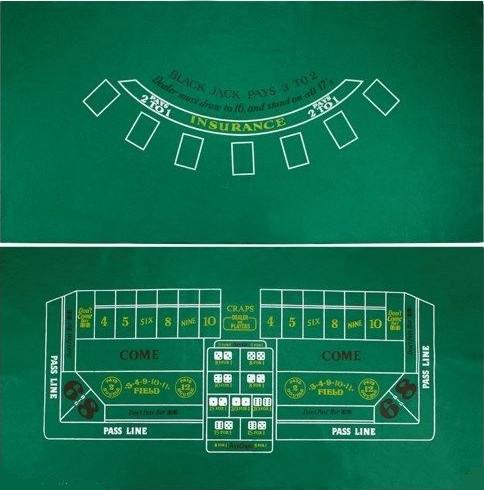 36 x 72 inch Felt Blackjack & Craps Layout